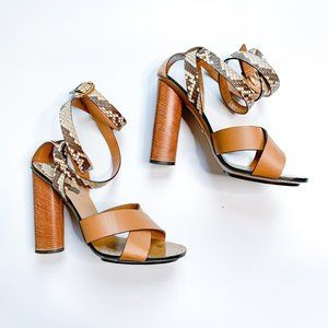 Gucci Leather & Python Candy Cross Ankle Wrap Heel